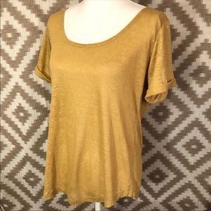 Soft Surroundings Gold Linen Scoop Neck T Shirt